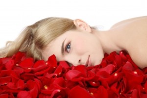 blonde on red roses